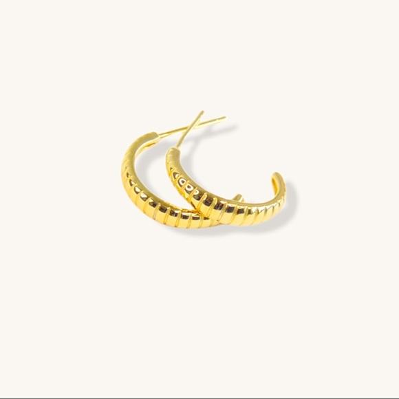 Rib Textured Hoop Earrings 18K Gold S925